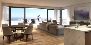 Luxurious apartment interior, marble countertops, extensive balcony overlooking the water, couple on balcony