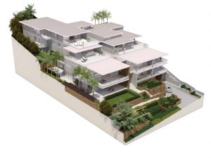 3D mock up of luxury Sé residences showing balcony's, multi-level gardens and driveway