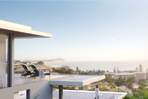 Luxurious balcony overlooking Terrigal and the water